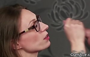 Nasty idol gets jizz millstone on her face swallowing all the spunk
