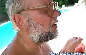 Young eurobabe pleasing seniors cock