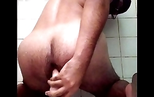 Kinky guy masturbates in the shower with big dildo Part1