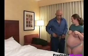 Pregnant slut gets shaved fuck up filled on bedbig-2