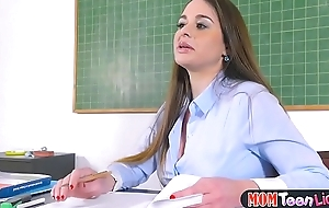 Busty teacher fucks female student in class yon a strapon