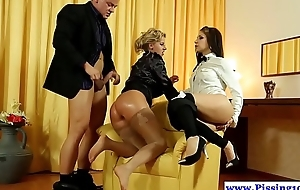 Classy piss babes in threeway peeing