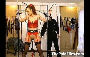 Rough whipping and slave sex of tied up amateur submissive down latex fetish wear