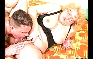 Hairy Granny gets dildoed before fucks with young alms-man