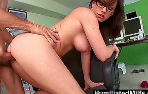 HumiliatedMilfs - Jennifer Sickly Bent Over The Office Chair &amp_ Boned!