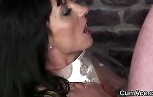 Slutty babe gets jizz load more than her face gulping all the have a crush on juice