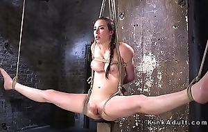 Tied up in bed babe gets electro shocks
