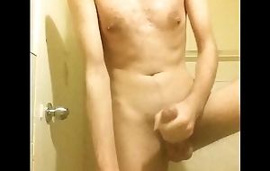 Wow horny morning bathroom masturbating my  7 inch cock until I cum