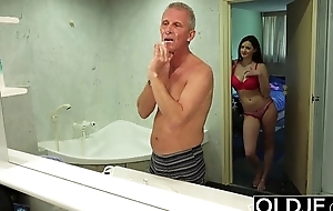 Venerable and young hot wife likes to get fucked by old man cock she is so horny