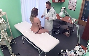 Cushiony brunette patient fucks doctor