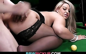 BBW in stockings likes it in the sky the pool table