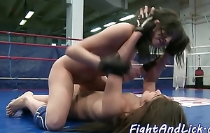 Lez babes wrestling and fingering