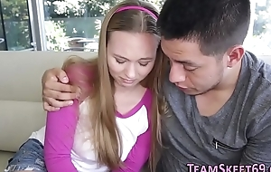 Bendy teen babe creampied