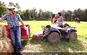 Let'_s Fuck Outside - Cowgirls gets Fucked by Cowboy in Outdoor Threesome
