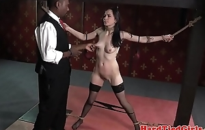 Bound spex outwait clamped by black maledom
